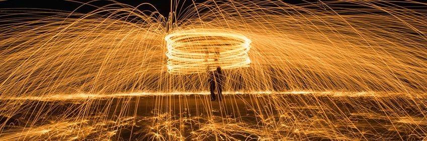 Staalwol fotografie. Lightpainting met staalwol